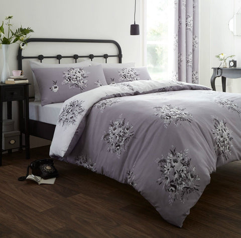 Grey Floral Reversible Duvet