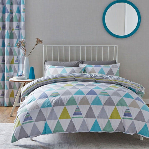 Blue Geo Pattern Reversible Duvet
