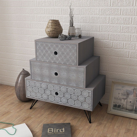 Grey Aztec 3 Level Bedside Table