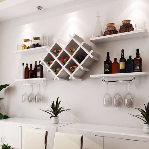 5pcs Wall Drinks Display & Wine Rack Set