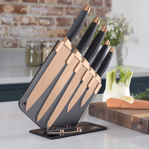 5pc Copper Knife Set & Block