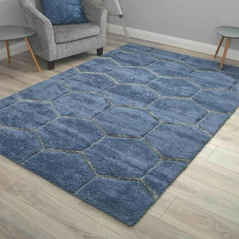Blue Honeycomb Shaggy Rug