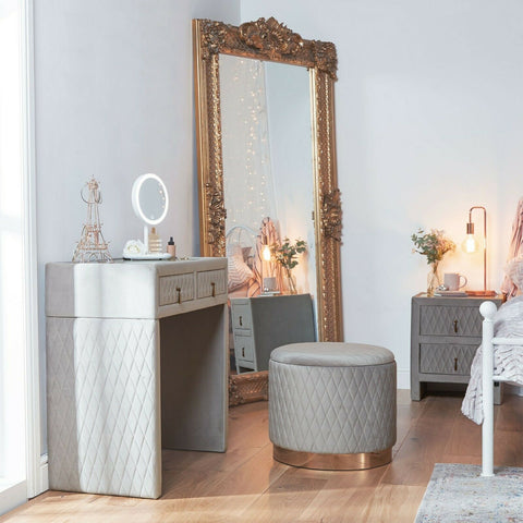 Grey Velvet Dressing Table