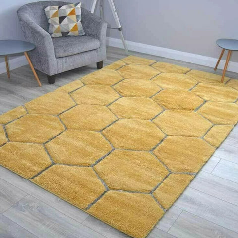 Yellow Honeycomb Shaggy Rug