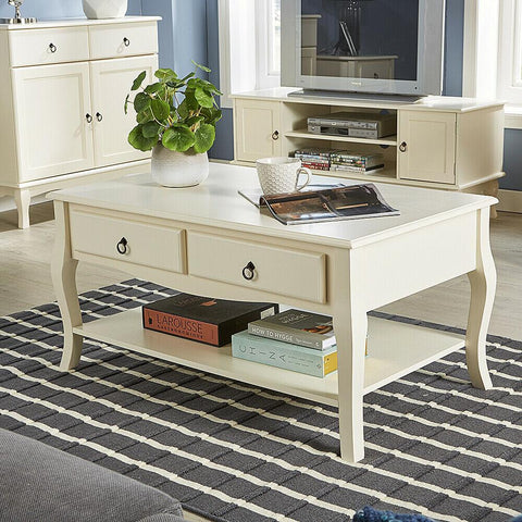 2 Drawer Cream Coffee Table