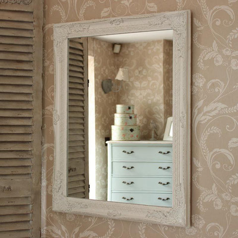 Large White Shabby Ornate Wall Mirror