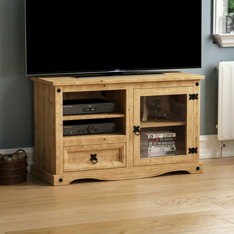 Solid Pine Wood & Glass TV Unit
