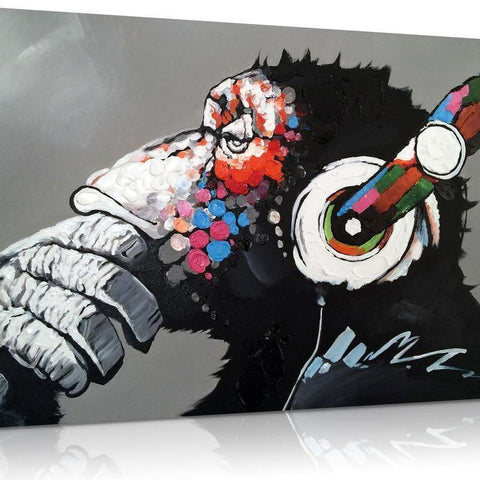 Chilling Ape With DJ Heaphones Canvas