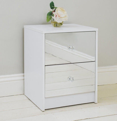 2 Drawer Mirrored Bedside Table