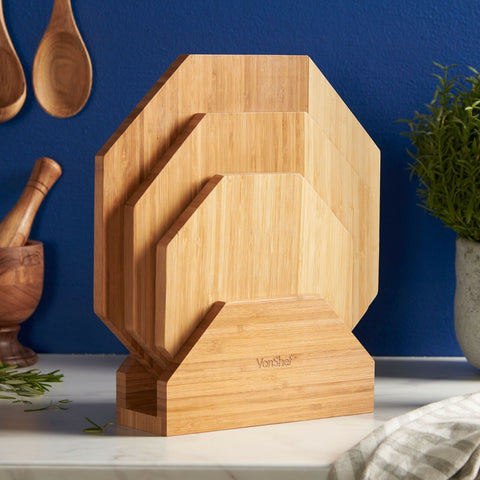 Bamboo Chopping Board Set of 3 with Stand