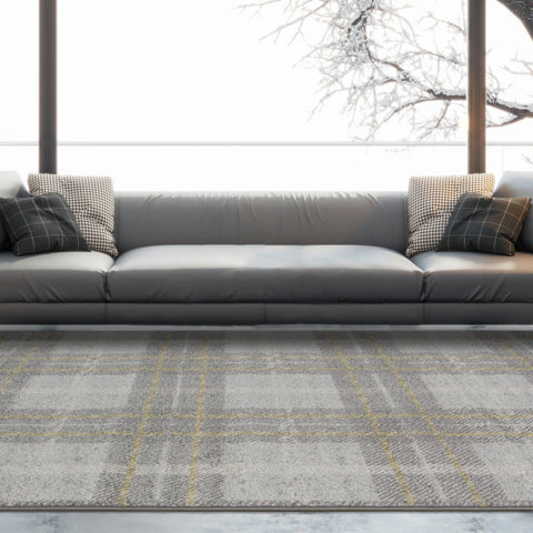 Grey & Yellow Check Rug