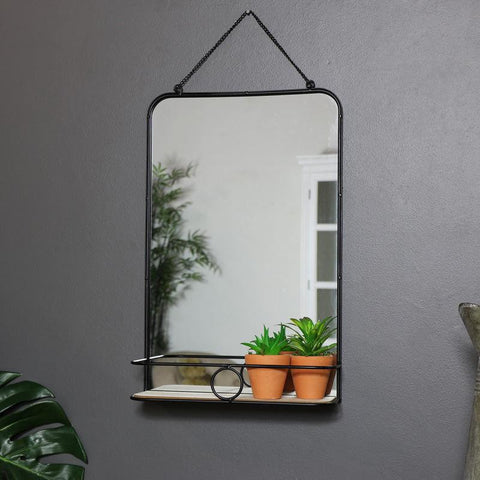 Black Metal Industrial Styled Wall Mirror