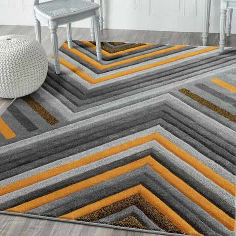 Gold & Grey Marley Rug