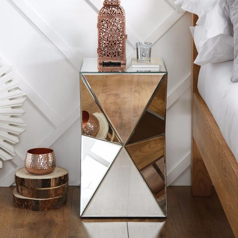 Diamond Mirrored Bedside Table