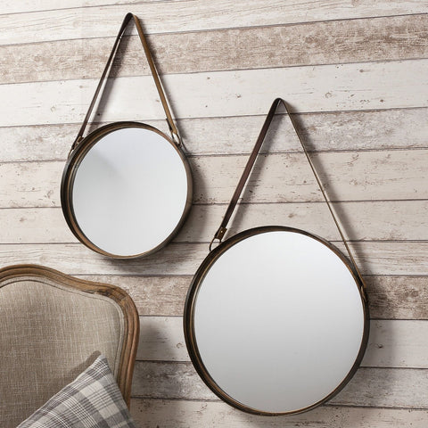 Set of 2 Round Metal Vintage Wall Hanging Mirrors - 30cm & 40cm