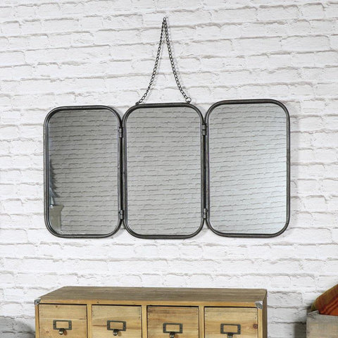 Black Metal 3 Panel Mirror