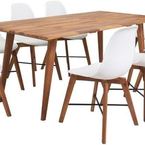 Solid Wooden Dining Set with 8 White Chairs