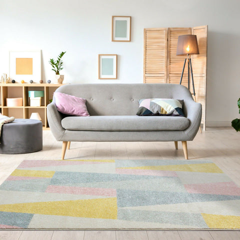 Pastel Diamond Geometric Rug