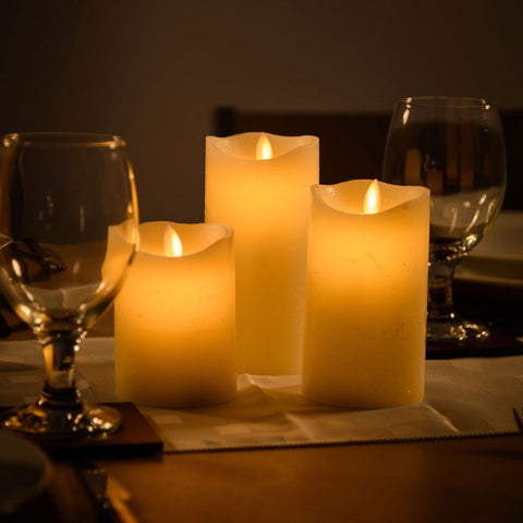 3 Flameless Wax LED Mood Flickering Candles