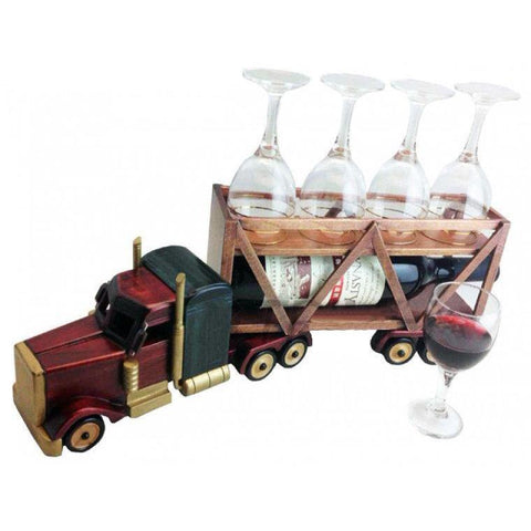 Truck Wine Bottle & Glass Holder