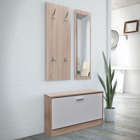 Oak 3 in 1 Wooden Shoe Cabinet, Coat Rack & Mirror