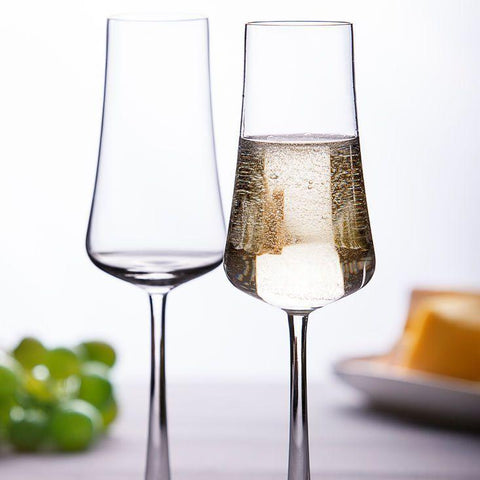 Set of 4 Clear Glass Champagne Flutes