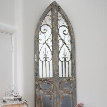 Large Distressed Arched Mirror