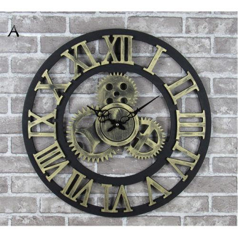 Large Roman Numerals Gear Wall Clock