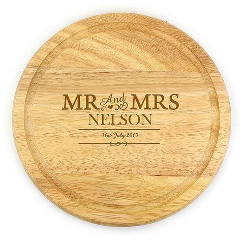 Mr & Mrs Round Personalised Chopping Board