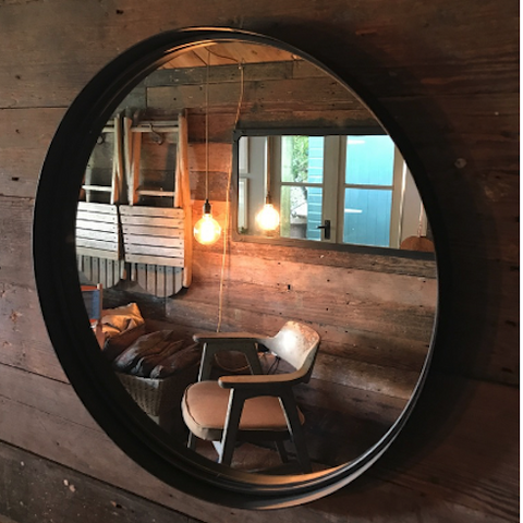 Round Urban Rust Metal Mirror