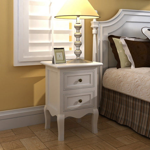 Set of 2 White Nightstands with 2 Drawers