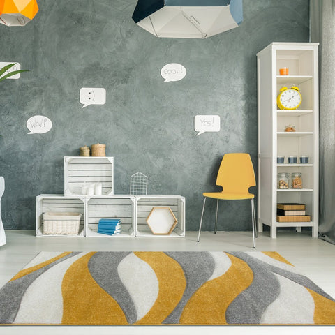 Gold & Grey Geo Wave Rug