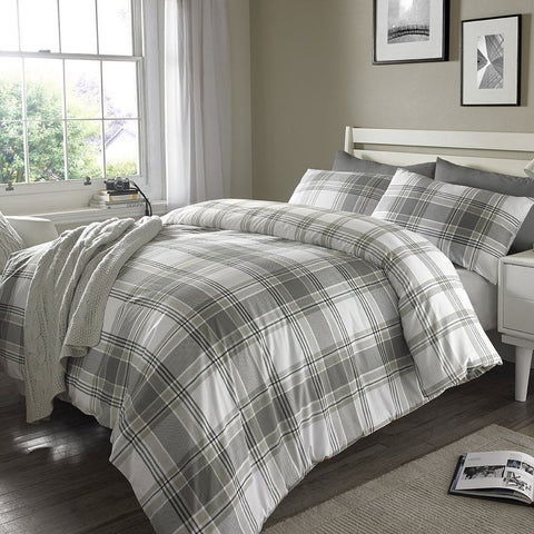 Grey Check Stripes Duvet Set