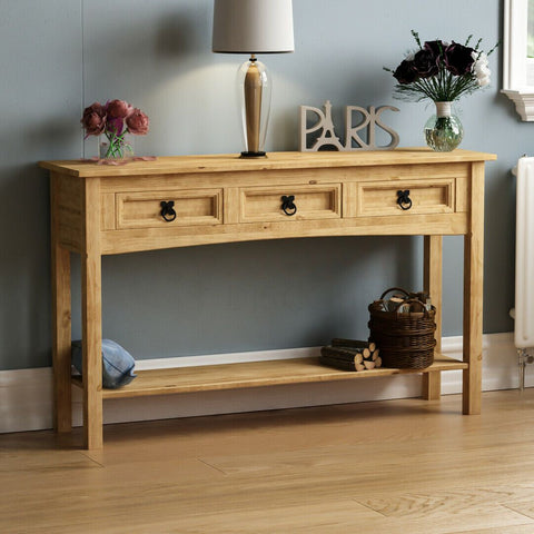 Tripe Solid Pine Wood Console Table