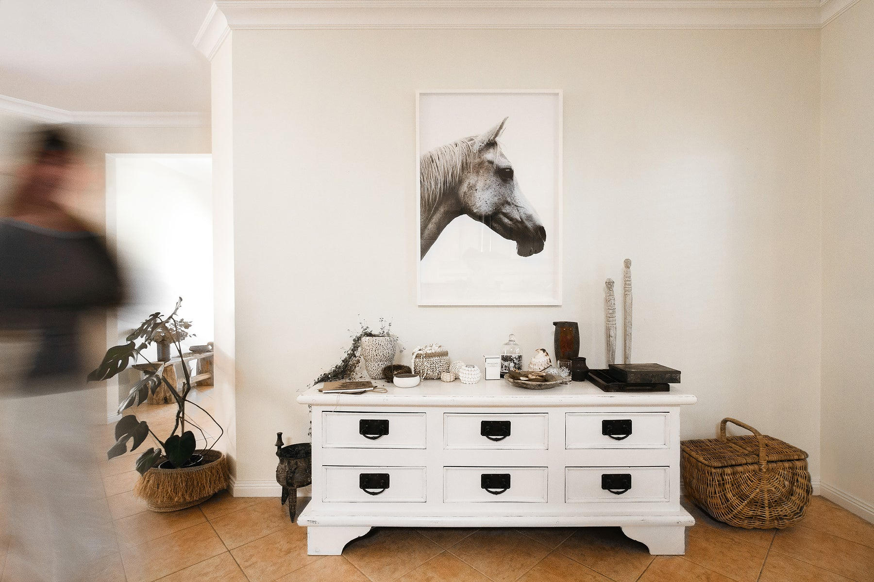 Appaloosa fine art print by Lisa Perhat styled and framed on wall. Bohemian interior design. Fine art prints.