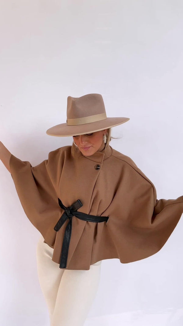 CAPE JACKET WITH TIE BELT IN CAMEL