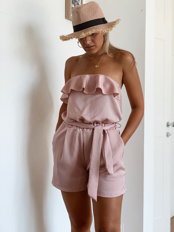 BANDEAU PLAYSUIT WITH TIE WAIST AND FRILL DETAIL - Jumpsuit - Shop Fashion at LE TRÉ