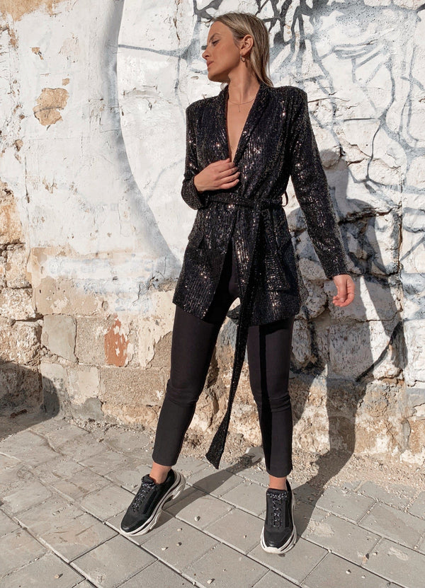 BLACK SEQUIN BLAZER Coats & Jackets LE TRÉ Small Black