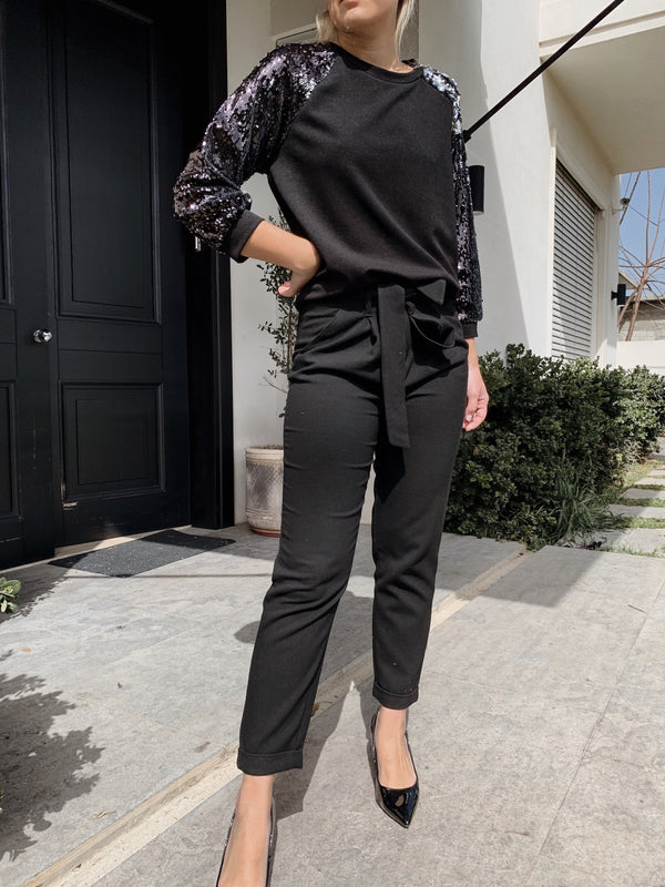 BLACK TOP WITH SEQUIN SLEEVES - Top - Shop Fashion at LE TRÉ