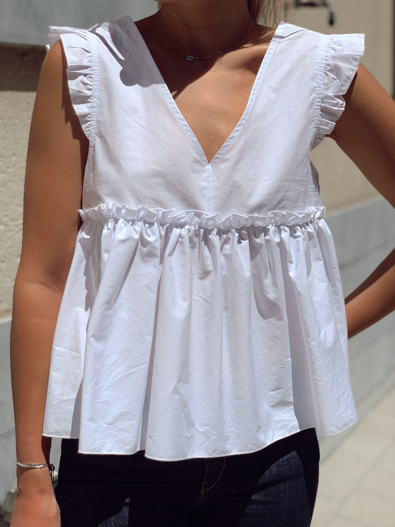 BLOUSE TOP WITH FRILL SLEEVES - Top - Shop Fashion at LE TRÉ