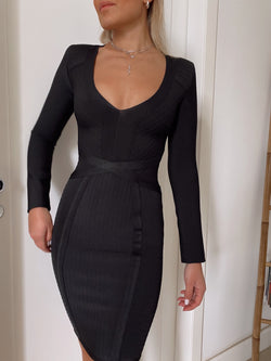 BODYCON BANDAGE DRESS WITH LONG SLEEVE - Dress - Shop Fashion at LE TRÉ