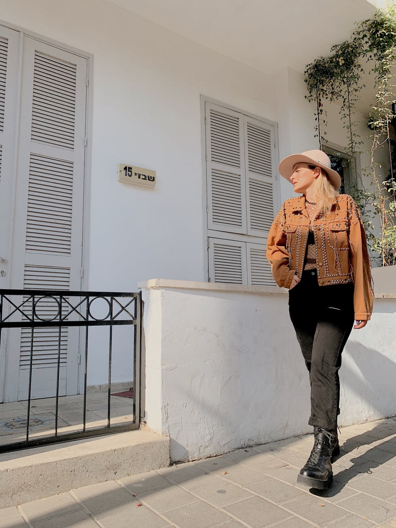 BROWN DENIM JACKET WITH STUDDING - Coats & Jackets - Shop Fashion at LE TRÉ
