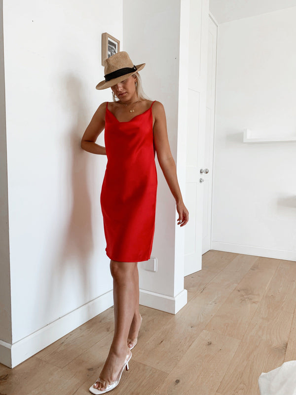 CAMI DRESS WITH COWL NECK IN RED - Dress - Shop Fashion at LE TRÉ