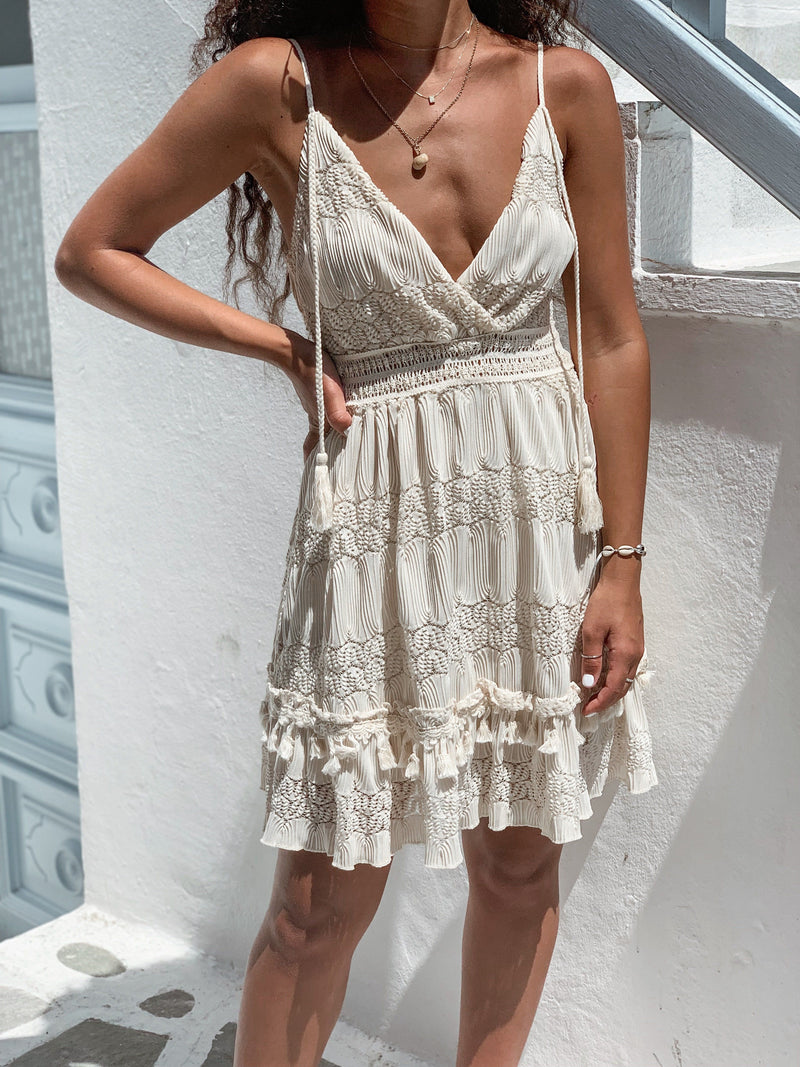 CAMI DRESS WITH ROPE STRAP AND POM POM DETAILS Dress LE TRÉ