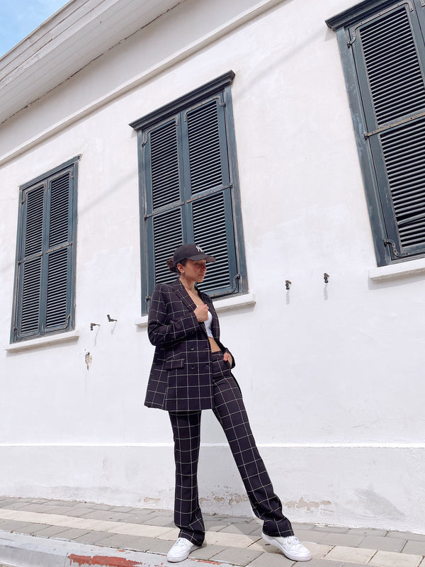 CHECKED SUIT SET IN BLACK - LE TRE