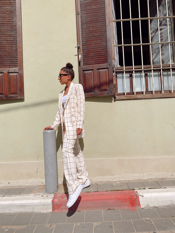 CHECKED SUIT SET IN CREAM - LE TRE