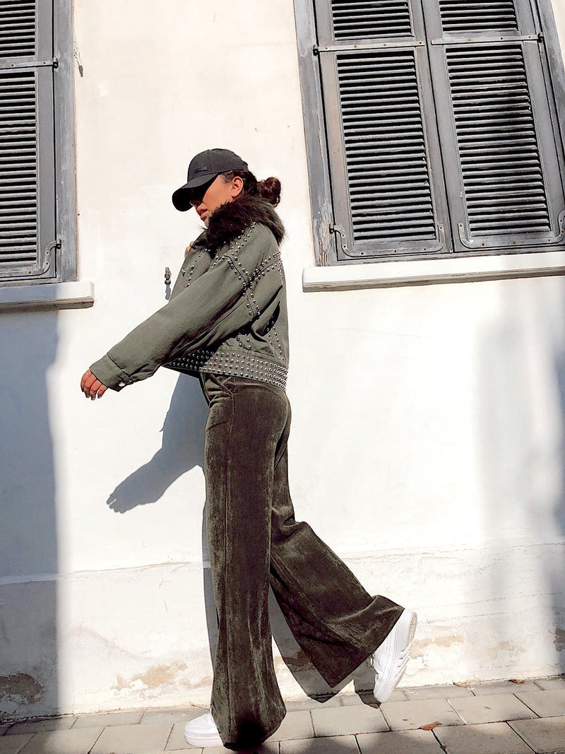 CORD WIDE LEG TROUSERS IN GREEN - Trousers - Shop Fashion at LE TRÉ