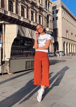 CROPPED WIDE LEG TROUSERS IN DARK ORANGE Trousers LE TRÉ