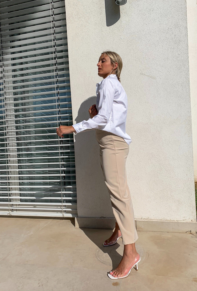 CROPPED WIDE LEG TROUSERS IN LIGHT BEIGE - Trousers - Shop Fashion at LE TRÉ