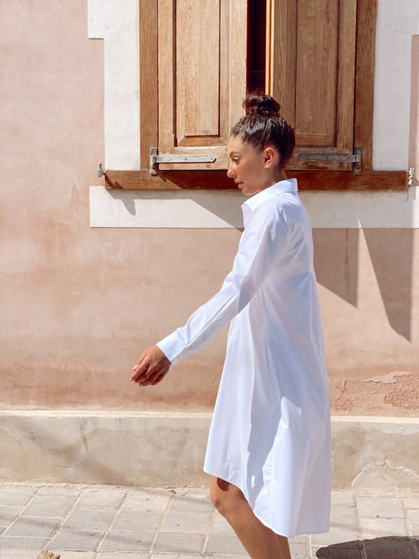 SHIRT DRESS IN WHITE - LE TRE